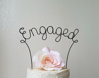 ENGAGED Cake Topper, Engagement Party Cake Topper, Rustic Engagement Party Cake Topper,Bridal Shower Cake Decoration,Engaged Cake Decoration