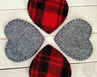 Wool Felt Heart Coasters