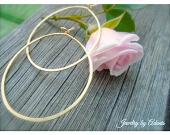 "Gold Semi-Oval Hoop Earrings, Hammered, 2"" Hoops, 2.25"" Hoops,  2.5"" inch , 2.75"", 3"", Plain Thin Gold Hoops, Summer Earrings, Free Shipping"