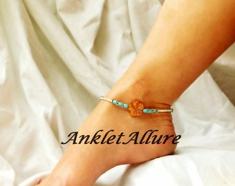 Flower Anklet Turquoise Anklet Beach Ankle Bracelet Blue Body Jewelry