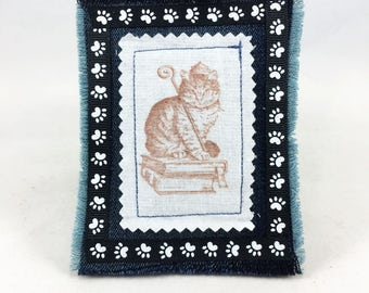 Lavender queen cat sachet, jeans cat sachet, cat pincushion