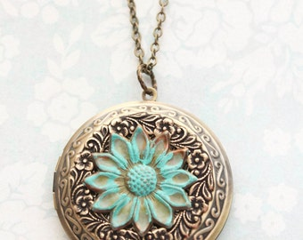 Sunflower Locket Necklace Large Round Photo Locket Pendant Gold Floral Filigree Vintage Style Verdigris Patina Teal Flower Long Chain