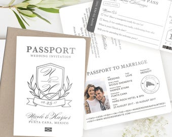 Passport Invitation, Passport Wedding Invitation, Passport Wedding Invitations, Destination Invitation, Classic Crest in Silver