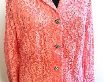Pink Lace Pantsuit with Rhinestone Buttons
