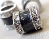 4pc - 14mm Black Enamel with Antiqued Silver and crystal rhinestone banding, large hole beads, 14mm x 14mm, hole diameter 8mm, package of 4