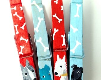 DOG CLOTHESPINS blue and red hand painted magnets black lab white terrier heeler