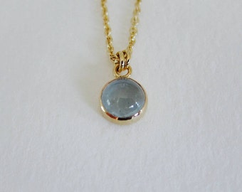 Aquamarine necklace. Natural gemstone necklace. Tiny gold birthstone necklace.
