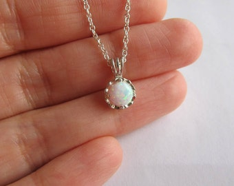 Opal necklace. Silver necklace. Lab opal jewelry. Bridesmaids necklace. Gemstone necklace. Birthstone necklace.