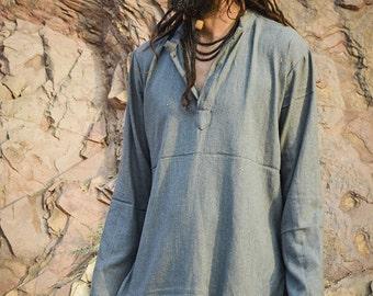 Grey Raw Silk Short Kurta