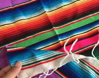 vintage woven striped southwestern mexican serape throw rug / runner / wall display / saltillo