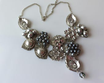 Rhinestone Bib Necklace, Abstract, Silver tone, Statement Assemblage, Up cycled, Reclaimed Vintage Jewelry, OOAK