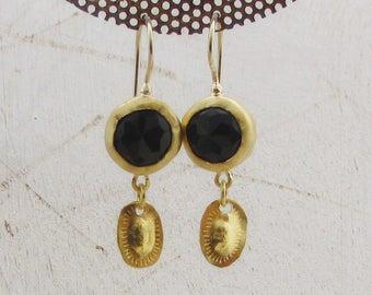Onyx Earrings - 22k Solid Gold Earrings - 22 Karat Gold Dangle Earrings