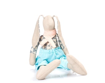 plush soft cuddly toy -Natural linen stuffed bunny doll toy - cuddling rabbit doll - Fabric Doll- stuffed toy - easter rabbit toy -gray mint