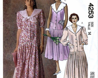 McCall's 4253 Vintage 80s Sewing Pattern for Misses' Dress - Uncut - Size 14