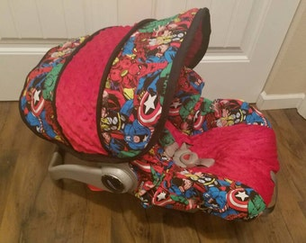 Baby Car Seat Cover Super hero red minky infant car seat cover,boy infant car seat cover - custom made to your car seat brand
