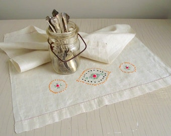 Embroidered Linen Runner | Vintage Hand Embroidery Dresser Skirt | Curtain Panel | Linen Tea Towel | Cottage Chic Farmhouse Decor