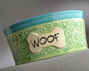 Large Dog Bowl Ready To Ship Curls Dog Bowl by Symmetrical Pottery
