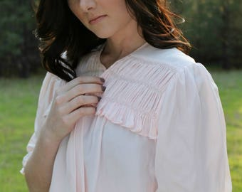 ROSEWATER Vintage 1930's Bed Jacket Top Light Pink Lingerie Pajamas Intimates Embroidered Ruching