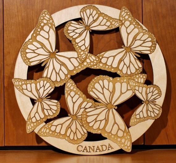 Butterflies, Wall Art, Warm Pot Trivet, Pattern T7, Laser Engraved, Paul Szewc, Masterpiece Laser