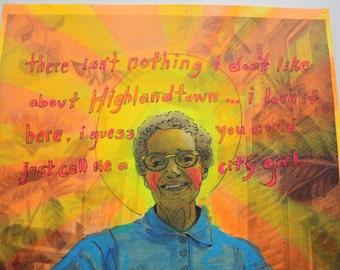 City Girl Matilda Patron Saint of Highlandtown Baltimore Maryland, mixed media portrait on paper