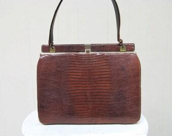 Vintage 1950s Purse / 50s Brown Lizard Kelly Bag Style Footed Handbag