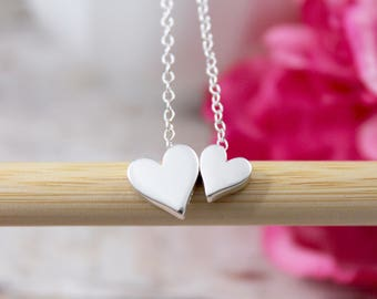 Double Heart Necklace - Sterling Silver Heart Necklace - Floating Heart - New Mom Necklace - Friendship Necklace - Mother's Day Gift