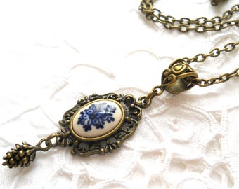 delft pendant necklace delft blue jewelry delft blue necklace blue necklace pendant necklace delf blue pendant