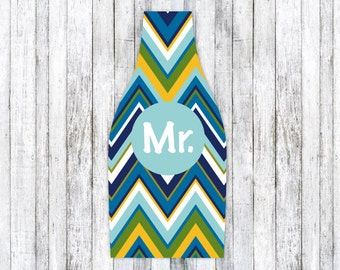 MULTI BLUE CHEVRON personalized monogram bottle beverage insulator - zippered back for longnecks - weddings, bachelorette, parties, beaches