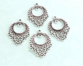 Chandelier Component with Filigree Design, 4pc 35x25mm