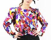 EMANUEL UNGARO Silk Blouse Vintage Floral Wrap Top // Designer Vintage on TatiTati Style on Etsy