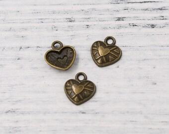 20pcs Antiqued Bronze Tone Petite Love Heart Charm Pendant Necklace Bracelet Extender End Drops