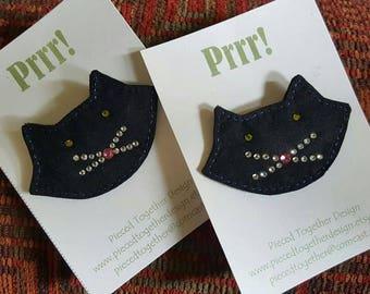 Handmade Batik Black Cat Pin-Prrr!