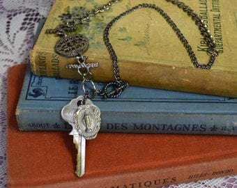 Chunky Romantic Rocker Festival Upcycled Bracelet Vintage Key Virgin Mary Saint Charm Necklace