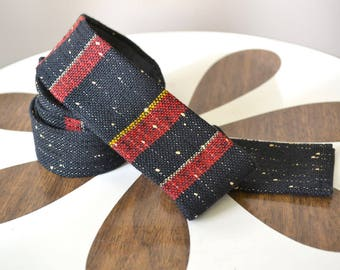 1950s Wool Striped Square End Skinny Necktie