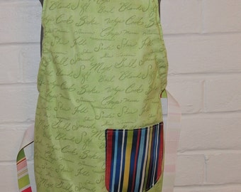 REVERSIBLE Green Script, multi color stripes Child's Cooking Apron / Art Smock fits size 3, 4, 5, 6 and 7 kids kid pocket blue red white