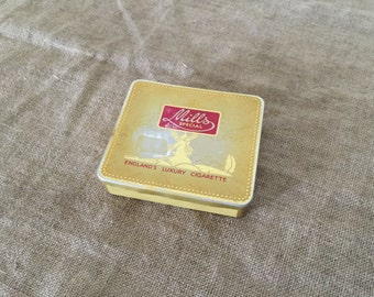 """VINTAGE metal """" Mill Special England's Luxury Cigarette"""" tin. VINTAGE ADVERTISING. Made in England."""