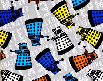 END OF BOLT 17 inches long Dr. Who fabric, Dr. Who Robot, Dalek fabric 100% cotton for Quilting and general sewing projects.