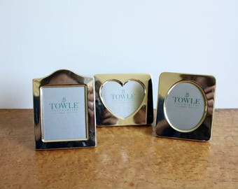 Set of 3 Trio of Vintage Silvertone Petite Picture Frames from Towle