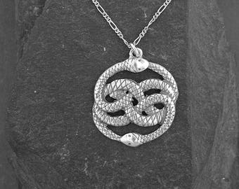 Sterling Silver Ouroboros Pendant on a Sterling Silver Chain