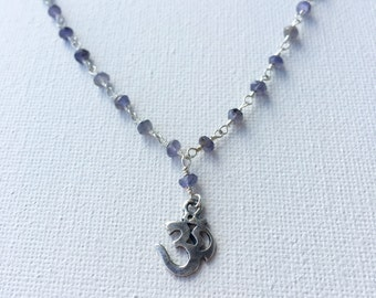 Sterling Silver Om Choker, Silver & Purple Iolite Om Choker, Om Necklace, Silver Ohn Necklace by Indira Boheme