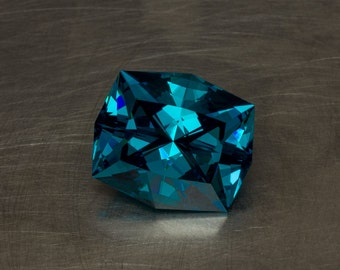 Vivid Peacock Blue Cubic Zirconia Loose Modern Designer Cushion Cut Gemstone Lab Created Conflict Free CZ