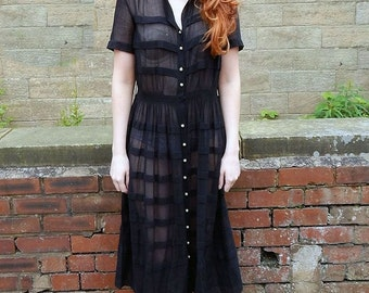 Antique 1920s Vintage Black Semi Sheer Block Stripe Dress UK Size 12