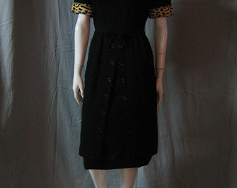 1950's LEOPARD Sexy Secretary Black Wool Wiggle Dress Mad Men Cocktail Bombshell Lg 29/30waist Marilyn Vixen Vlv Rockabilly
