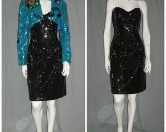 1980's 50s theme Rock & Roll ELVIS Strapless Sequin Mini Dress Bolero Jacket Music Notes Patches VEGAS LARGE Volup Drag Rockabilly VlV