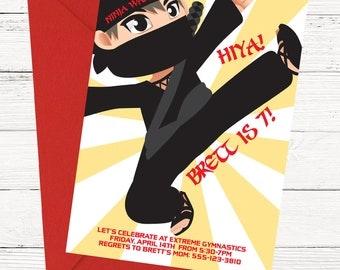 Ninja Warrior Birthday Invitation - Hiya! Invite - Printable or Printed Invitations