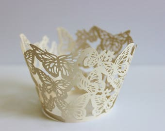 Wedding Cupcake Wrappers 12 or 24 Ivory Butterfly Laser Cut Paper / Shower / Baking / Gifts