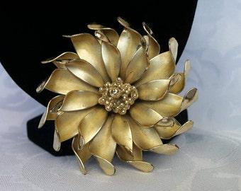 Vintage Coro Gold Flower Brooch, Coro Gold Tone Flower Brooch
