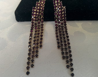 Vintage Purple Rhinestone Earrings, Purple Earrings, Purple Rhinestones
