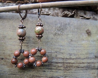 Marigold - earrings with gold stone and unakite beads