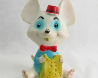 Vintage 1960s Baby's Squeaky Toy Rubber Mouse